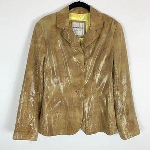 Andrew Marc Blazer Jacket Woman's 6 Leather Snake